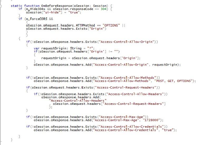 在 OnBeforeResponse 添加相关代码